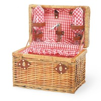 Chardonnay Picnic Basket W/ Wine Service For 2 (Red Checkered Accents)