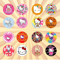 HELLO KITTY Set of 16 - 1 Inch Pinback Buttons or Magnets