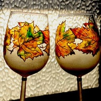 Wine glasses, Personalized wedding glasses, Hand painted - Set of 2  wine glasses - Autumn Leaves, Maple leaves
