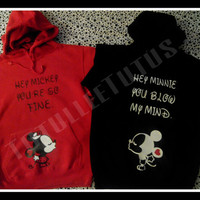 Disney Inspired Kissing Minnie and Mickey Hoodie Perfect for Any Loving Couple Headed to Didney