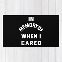 IN MEMORY OF WHEN I CARED (Black & White) Rug by CreativeAngel