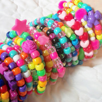 20 Kandi Rave Bracelets Colorful, Rainbow, Neon, Cute