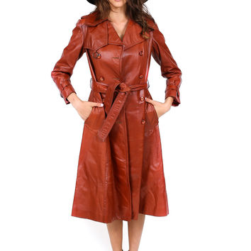 1970's Bisset Leather Trench Coat- Vintage
