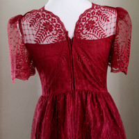 Scarlet satin and lace 1980's formal dress, size 11/12