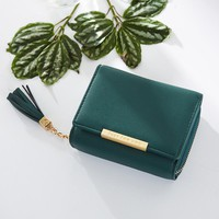 Fashion Tassel Zipper Short Wallet Female PU Coin Purse For Girls Small Leather Women Wallets Credit Card Pocket Dropshipping