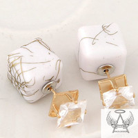 Angelofzion Double Sided Double Ball Stud Earrings