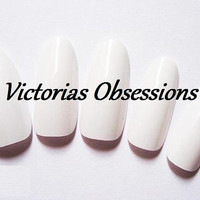 Oval/ Round Full Cover White Nail Tips SIZE by VictoriasObsessions