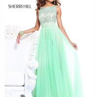 V-Back With Draping Bow Formal Prom Dress By Sherri Hill 11022