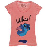 Lilo and Stitch Whee! Disney Movie Mighty Fine Juniors Sheer Burnout T-Shirt Tee