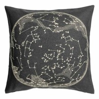 Cushion cover with a motif - Anthracite grey/White - Home All   H&M GB