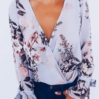Light Purple Floral Bow Deep V-neck Going out Blouse
