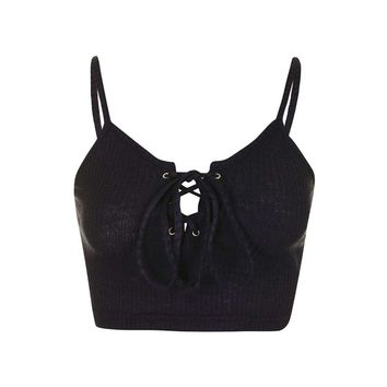 **Tie-Up Knitted Crop Top by Glamorous Petites - Topshop