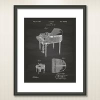 Piano 1937 Patent Art Illustration - Drawing - Printable INSTANT DOWNLOAD - Get 5 Colors Background
