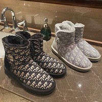 UGG x Louis Vuitton LV winter snow boots all-match rhinestone buckle thick-soled fashion warm thick short-tube cotton shoes
