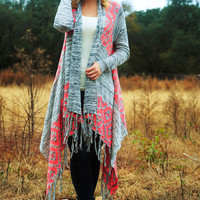 Heart Made Up Cardigan: Gray/Neon Pink