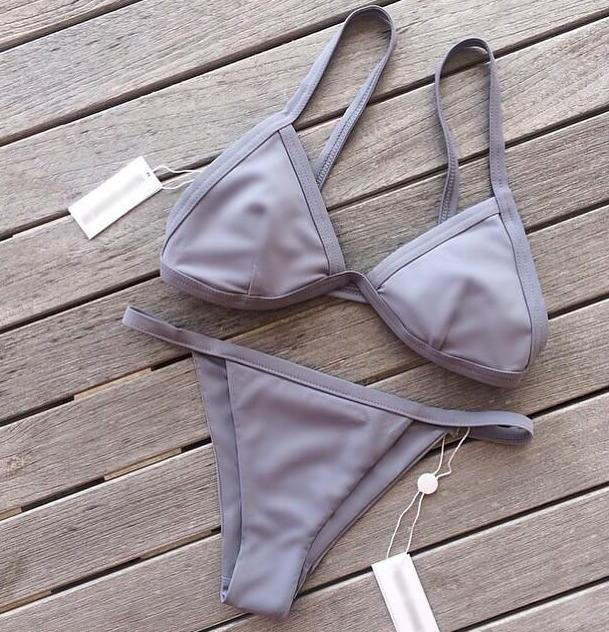 Image of HOT GREY SIMPLE PURE COLOR TWO PIECE BIKINIS