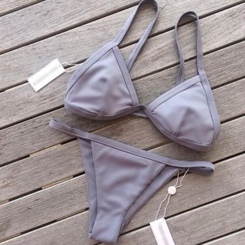 HOT GREY SIMPLE PURE COLOR TWO PIECE BIKINIS