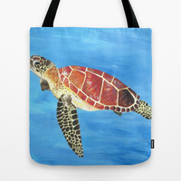 Sea Turtle Tote Bag by Always Add Color