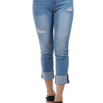 Mid Rise Easy Fit Distressed Cuffed Crop Denim Skinny Jeans