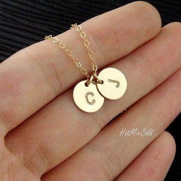 TWO Monograms Disc Necklace, Two GOLD Initial Necklace, Family, Couple Jewelry, Best Friend, Child, Sister, Mother's Necklace