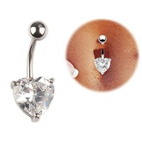 coromose Navel Ring Belly Rhinestone Button Bar Heart Body Piercing Jewelry Steel