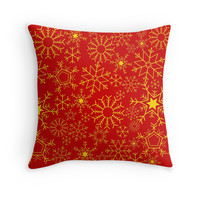 'Red and gold snowflakes' Throw Pillow by adiosmillet