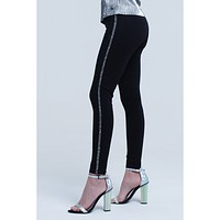 Black pants skinny with pearls details