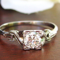 European Cut Diamond Engagement Ring 18K White Gold High Quality Vintage Betrothal Ring Exquisite Wedding Bridal Jewelry Certified Appraisal
