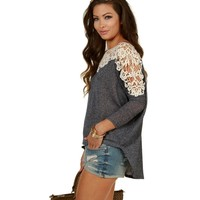 Promo-navy Crochet On My Shoulders Top