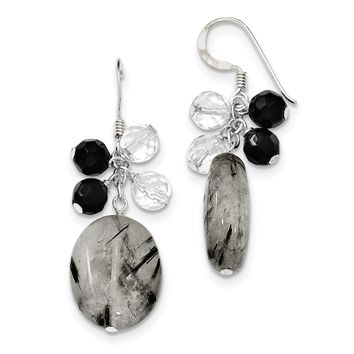 Sterling Silver Black Agate/Crystal/Tourmalinated Qtz Earrings QE5472