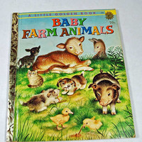 "Vintage - Antique Little Golden Book - 1958 - Children's Book ""Baby Farm Animals "" - Very Good Condition - Start Your Collection"