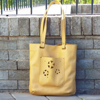 Yellow leather tote bag. Summer leather shoulder bag.