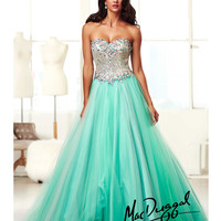 Mac Duggal 2014 Prom Dresses - Aqua & Multi-Color Rhinestone Beaded Strapless Sweetheart Corset Gown