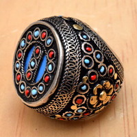 Vintage Turkish Tribal Ring,Beaded Ethnic Ring,Jewelry,Carved Bohemian Ring,Afghan Kuchi Ring,Gypsy Boho Ring,Antique,Hippie Statement Ring
