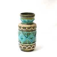West German Pottery Vase, Bay Keramik 92 20, Made in Germany, Turquoise Blue Green, German Midcentury, Fat Lava,