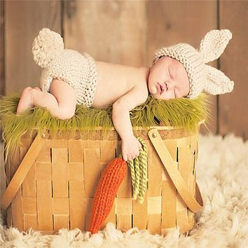 born Infant Handmade Baby Photography Props Knitted Crochet Hat Rabbit Hat Woolen Baby Clothing Lovely Baby Photo Props