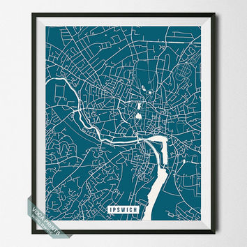 Ipswich Print, England Poster, Ipswich Street Map, England Map Print, Suffolk, Dorm Decoration, Modern Decor, Street Map, Back To School