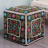 India Boho Cotton Embroidered Blooms Pouf Cover