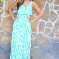 Chevron And On Maxi Dress: Mint/White   Hope's