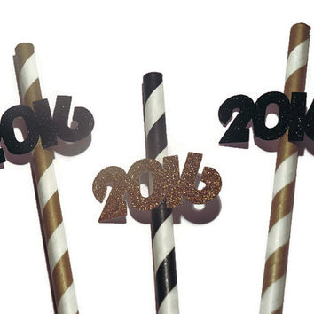 2016 party straws, New Years Eve decorations, graduation, retirement, baby shower, wedding, custom colors, 10 pieces