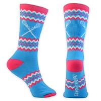 Athletic Half Cushioned Crew Socks | Aztec Girls Lacrosse Design | Neon Blue