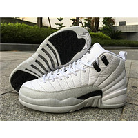 "Air Jordan 12 ""Barons while/black Basketball Shoes 36-47"