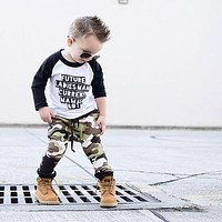 Toddler Kids Baby Boy Camo Outfits Clothes T-shirt Tops+Pants Trousers 2PCS Set