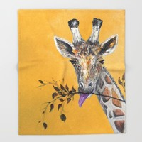 Giraffe in Orange Throw Blanket by RokinRonda