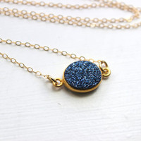 Gold Blue Druzy Necklace Natural Druzy Jewelry - Gold Blue Drusy Necklace Jewelry Druzy Christmas Gift Under 20 Necklace Statement Jewelry