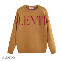 VALENTINO New fashion letter print long sleeve top sweater Khaki