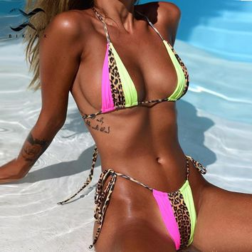Bikinx Triangle leopard bikinis 2019 mujer biquini Neon sexy swimwear women bathing suit String swimsuit push up micro bathers
