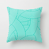 New Weave in Aqua Teal Throw Pillow by House of Jennifer