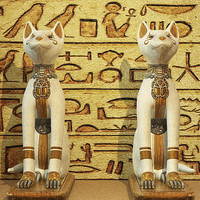 Egyptian Cat Statues - Hieroglyphic Script Fine Art Prints, Greeting Cards, Canvas Art, Framed Art and Posters for Sale