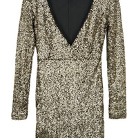 Gold Sequined Party Mini Dress